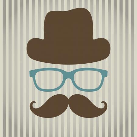 illustratie van een abstracte man met bril, hoed en snor