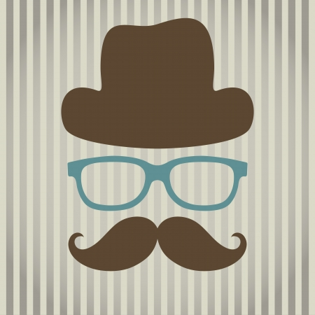 illustration of an abstract man with glasses, hat and mustache
