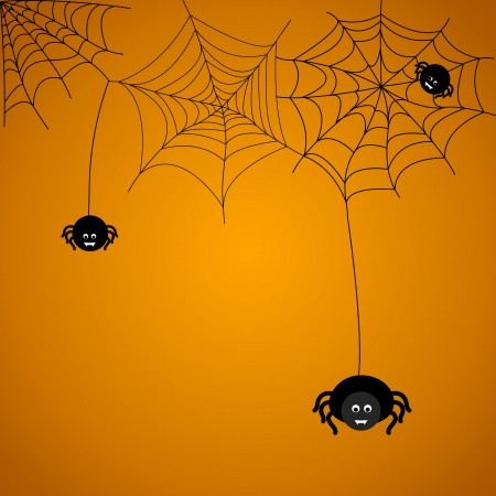 Halloween background. The spider weaves a web.  Vector