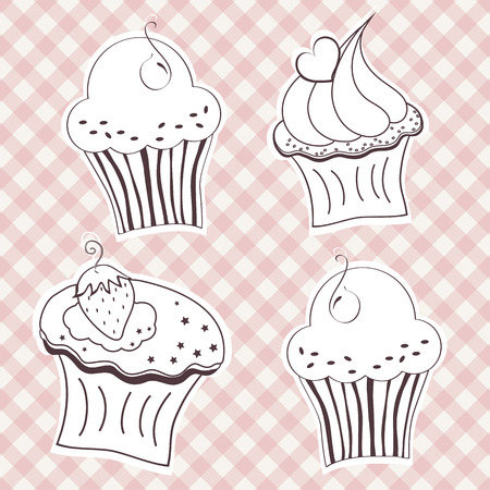 Set of creamy cupcake  Vector