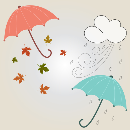 Beautiful autumnal and winter season with umbrella and leafs  Vector illustration