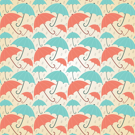Background with umbrellas pastel  Seamless vector autumn illustration  Vector