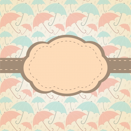 Vintage frame  Background with retro style umbrellas Illustration