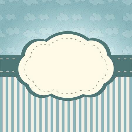 Marco de la vendimia con las nubes de estilo retro y las rayas Foto de archivo - 22707231