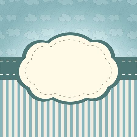 Vintage frame  with retro style clouds and stripes Vector