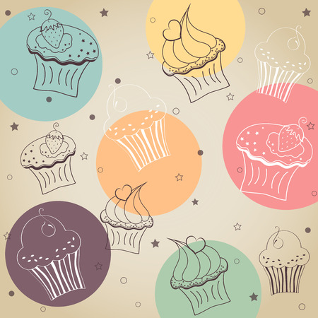 Background creamy cupcake vector set  Vector illustration Vector