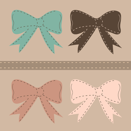 Seamless vector pattern with bows on a pastel background. For cards, invitations, wedding or baby shower albums, backgrounds, arts and scrapbooks.  Vector