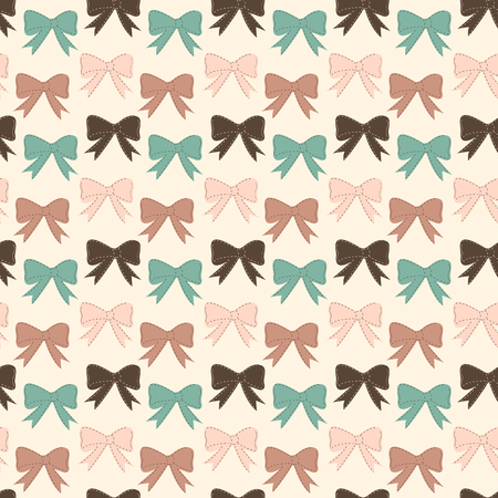 Seamless vector pattern with bows on a pastel background. For cards, invitations, wedding or baby shower albums, backgrounds, arts and scrapbooks.