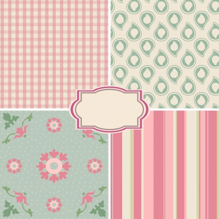 Shabby Chic Rose Patterns and seamless backgrounds  Ideal for printing onto fabric and paper or scrap booking  Vector