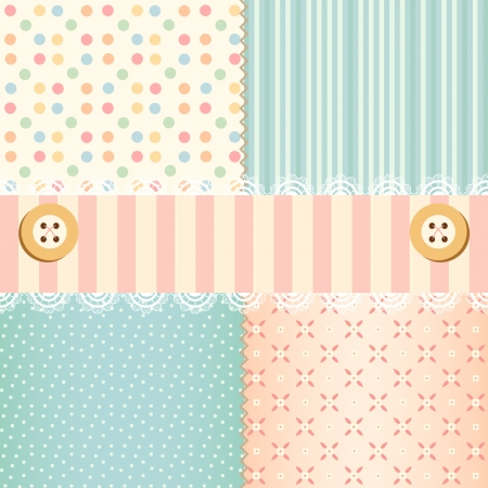 Shabby chic pastel patterns and seamless backgrounds  Ideal for printing onto fabric and paper or scrap booking  Illustration