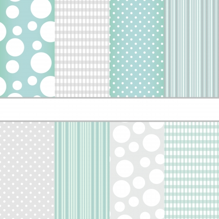 Set van pastel blauw en grijs jumbo polka dots, boerenbont en strepen naadloze patronen. Vector achtergrond