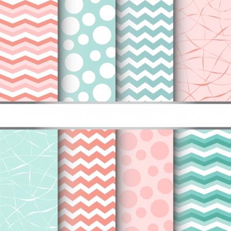 파스텔 블루와 핑크 점보 물방울 무늬, 깅 검과 셰브론 원활한 패턴의 집합입니다. 벡터 일러스트