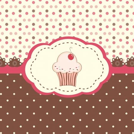 Cute vector met stippen patroon en cupcake Stock Illustratie