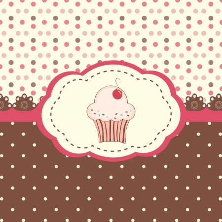 Cute vector with polka dots pattern and cupcake Vector