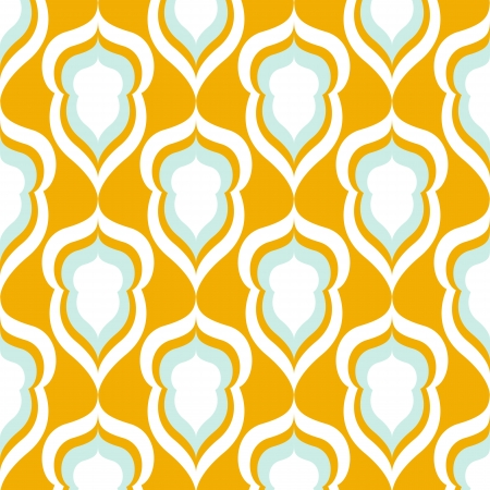 blue damask: Seamless yellow and blue damask floral wallpaper. Vector background