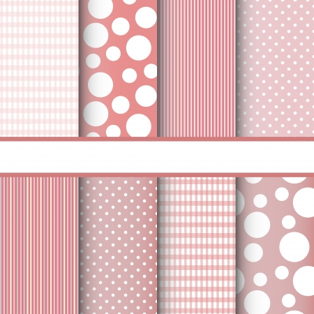 Set of pink jumbo polka dots, gingham and stripes seamless patterns. Vector background