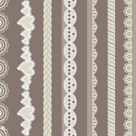 Set of vintage lines on brown background