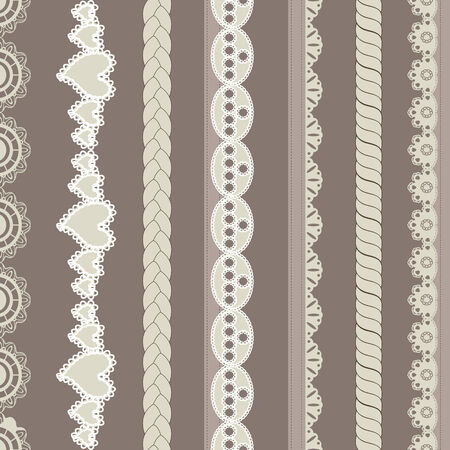 Set of vintage lines on brown background Vector