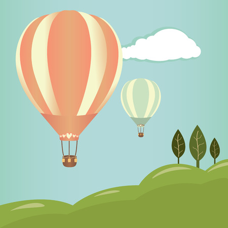 Hot air balloons in the sky. Vector illustration. Landscape background Vector