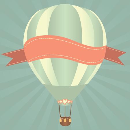 vintage etiket: Hete lucht ballonnen in de lucht. Vector illustratie. Wenskaart achtergrond