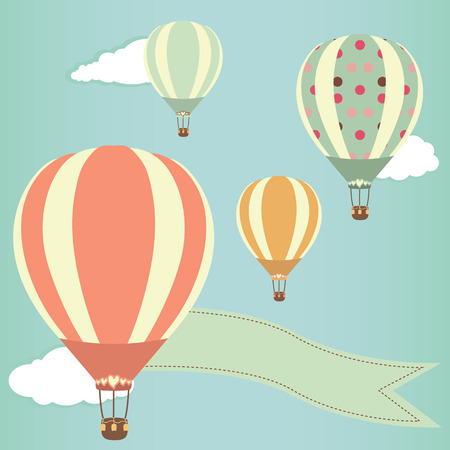 Hot air balloons in the sky. Vector illustration. Greeting card background Vector