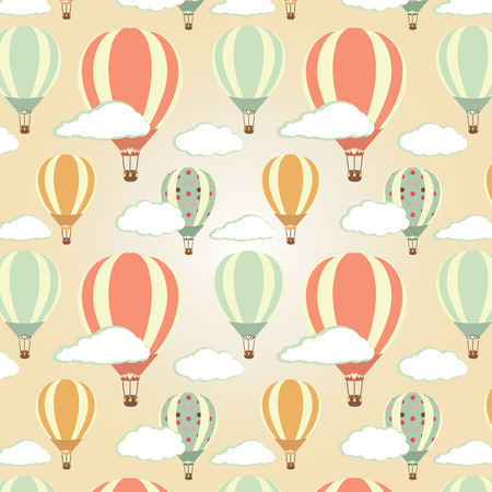 Hot air balloons pattern. Vector illustration Reklamní fotografie - 27536066