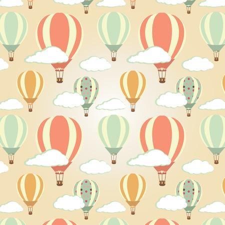Hot air balloons pattern. Vector illustration