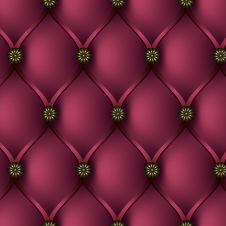 Seamless vector texture leather upholstery sofa. Buttoned pink background