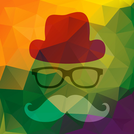 eye glass frame: Vector illustration of an abstract man with glasses, hat and mustache. Abstract colorful triangles background