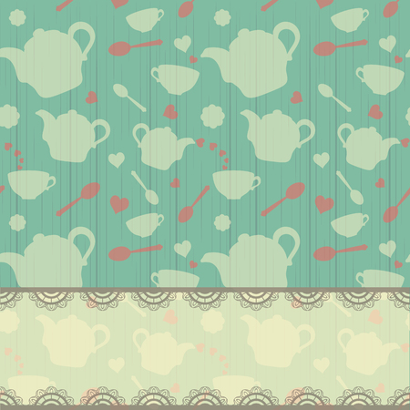 Beautiful vintage card. seamless pattern with tea pots, tea cups, hearts, flowers and spoons. Tea time invitation. Vector illustration Vector