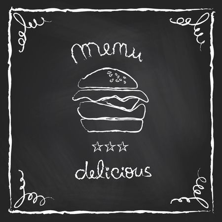 scuff: Burger house poster on chalkboard  Vector illustration