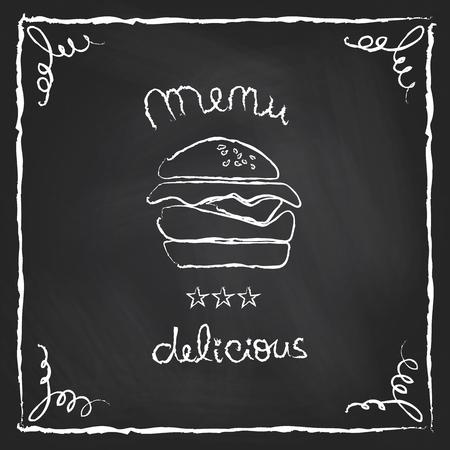 Burger house poster on chalkboard  Vector illustration Vector