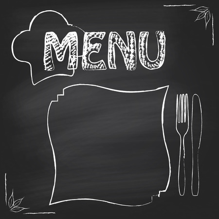 Poster menu on chalkboard background with chef Vector