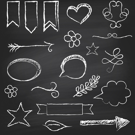Chalkboard background with several elements  Vector illustration Vector
