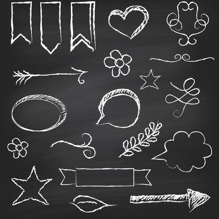 Chalkboard background with several elements  Vector illustration Illustration