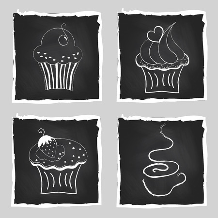 Cute set of bright cupcakes and cup of coffee on chalkboard background  Hand drawn vector illustration  Vector