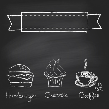 Vintage chalkboard menu design with hamburger, cupcake and coffee cup Illustration