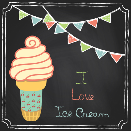 fairycake: Hand drawn restaurant menu elements. Chalk on board. Ice cream. Vector illustration.