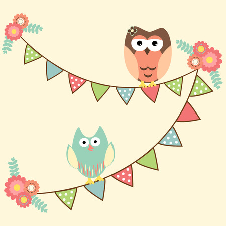 Vector birthday party card with ute owls hanging in flags Vector