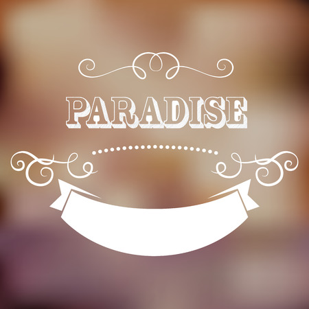 caligraphic: Vintage paradise poster, with gradient mesh, vector illustration Illustration