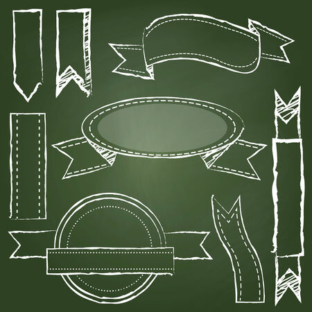 Vector Collection of Chalkboard Style Banners, Ribbons and Frames Illustration