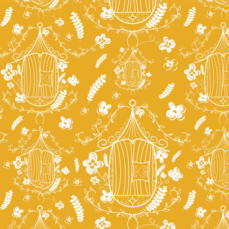 Vintage birdcages collection. Pattern background.