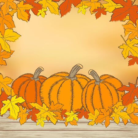 Pumpkins on wooden background with leaves. Autumn background. Mesh background. Vector. Illustration