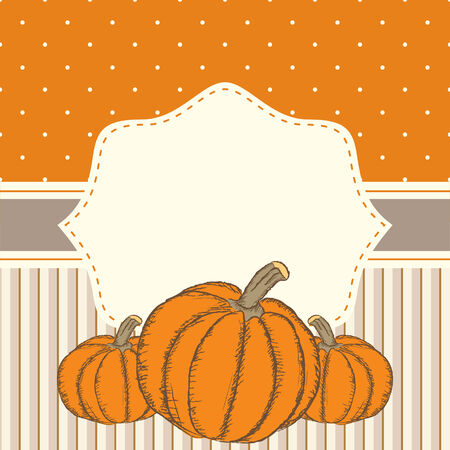Hand drawn invitation or greeting thanksgiving card template with pumpkins. Polka dots and stripes vector background