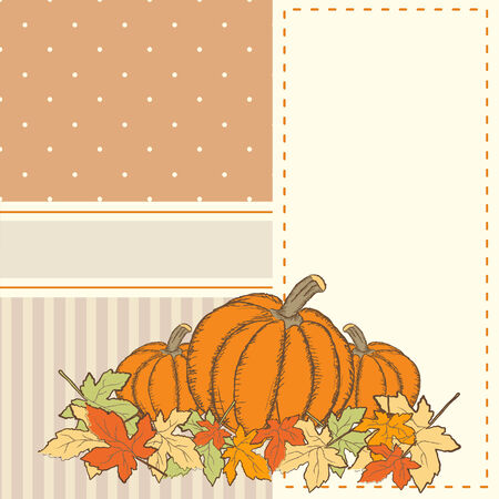 Hand drawn invitation or greeting thanksgiving card template with pumpkins. Polka dots and stripes vector background Vector