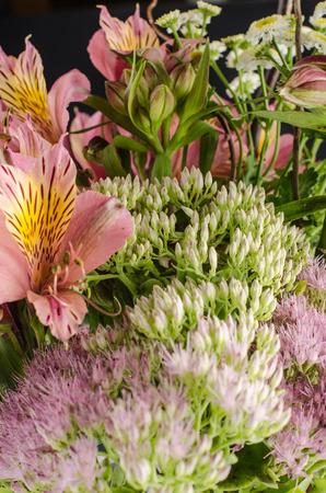 Bouquet of a beautiful alstroemeria flowers. Lily flower. Chalkboard background