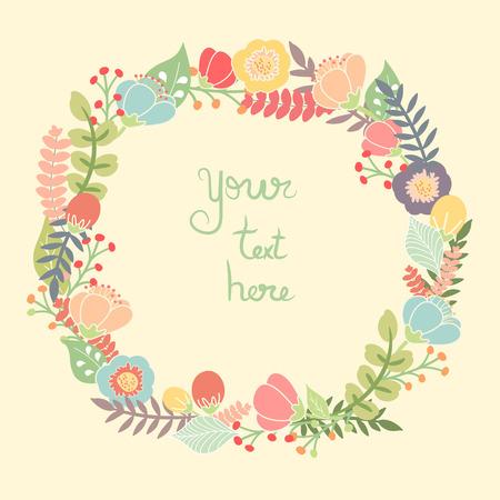 Mooie wenskaart met bloemen krans. Heldere illustratie, kan worden gebruikt als het maken van kaart, uitnodigingskaart voor huwelijk, verjaardag en andere vakantie en leuke zomer achtergrond. Stock Illustratie