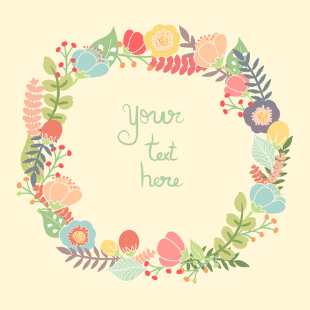 Beautiful greeting card with floral wreath. Bright illustration, can be used as creating card, invitation card for wedding,birthday and other holiday and cute summer background.