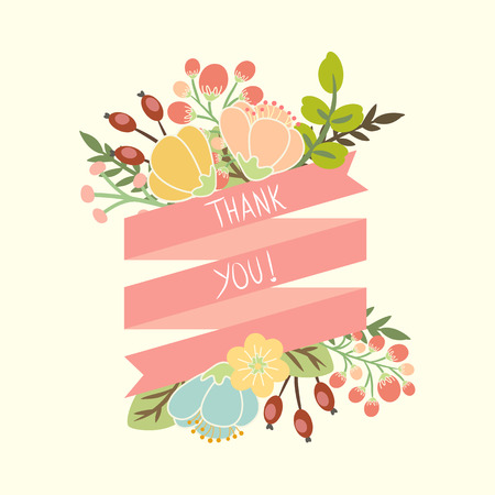 thank you card: floral banners for life events, vector collection