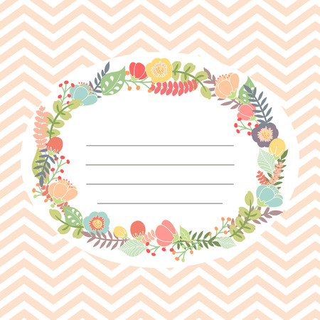 chevron background: Cute card with flower bouquet. Chevron background. Vector illustration Illustration